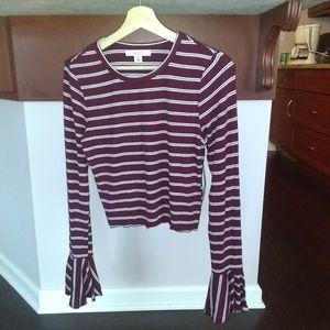Adam Levine Women's Lurex Stripe Top - Port Color